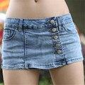 Verano de Las Mujeres Atractivas Shorts 2017 Nueva Moda Cintura Baja Flaco Faldas Shorts Breves Botones Decorado Damas Pantalones Cortos de Mezclilla 40465