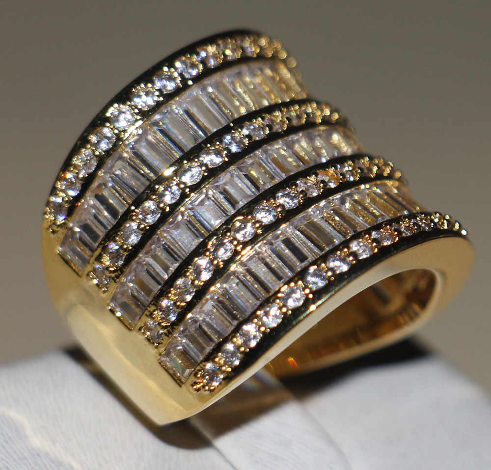 Choucong wieck princesa jóias 925 prata esterlina & ouro amarelo branco 5a claro cz pedras casamento feminino anel de banda presente tamanho 5-11