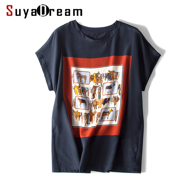 Women T shirt 100 REAL SILK Front Print Shirt Short Bat Sleeved Casual O neck T