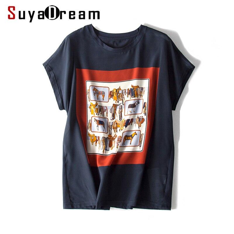 SUYADREAM Женская футболка из 100% натурального шелка с коротким рукавом «летучая мышь», Повседневная футболка с круглым вырезом, 2020, весенне-летн...