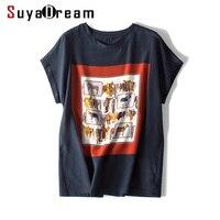 Women T shirt 100% REAL SILK Front Print Shirt Short Bat Sleeved Casual O neck T shirt 2019 Spring Summer Top Navy White