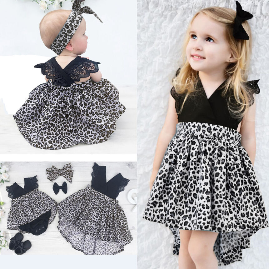 Hot Sisters Clothes Baby Girl Clothes Leopard Suit Lace Ruffles Sleeve Romper Dress 0-18M Dress 2-7Y Toddler Kids Summer CostumeHot Sisters Clothes Baby Girl Clothes Leopard Suit Lace Ruffles Sleeve Romper Dress 0-18M Dress 2-7Y Toddler Kids Summer Costume