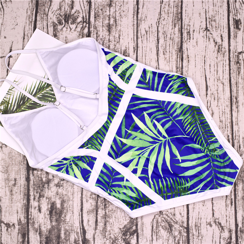 2018 New Green Leaf Swimsuit Sexy One Piece Swimwear Women Swimsuit Backless Pineapple Bathing Suit Swimming Suit Monokini 17
