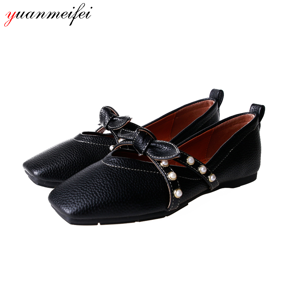Yuanmeifei Fashion flat shoes Women Plus Size 41 Pearl Bowtie Shoes Lady Square Toe Spring/Autumn Basic Slip-On 2017 New Arrival new arrival shallow mouth round toe women flat shoes sweet lady girls bowtie metal slip on shoes cute boat shoes plus size 35 41