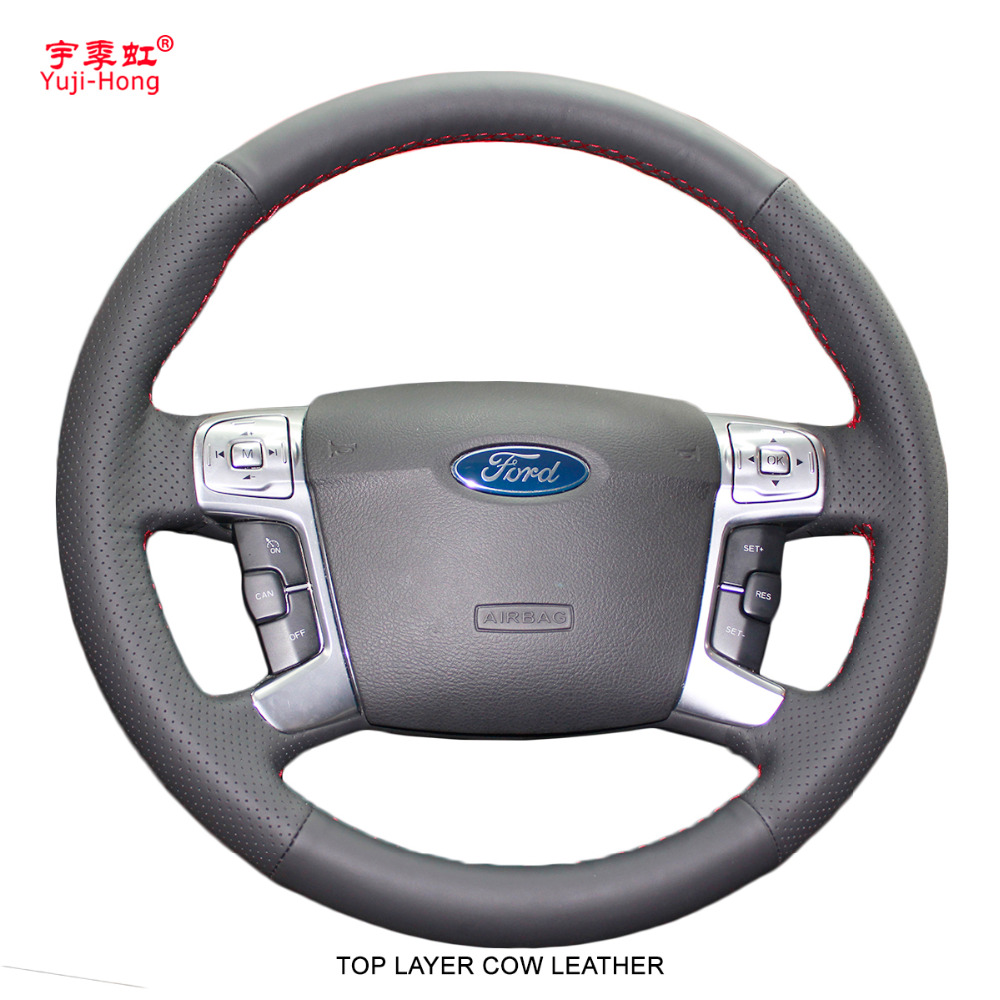 Top Layer Genuine Cow Leather Car Steering Wheel Covers Case For Ford MONDEO 2007-2012 CHIA-X S-MAX 2007 Hand-stitched