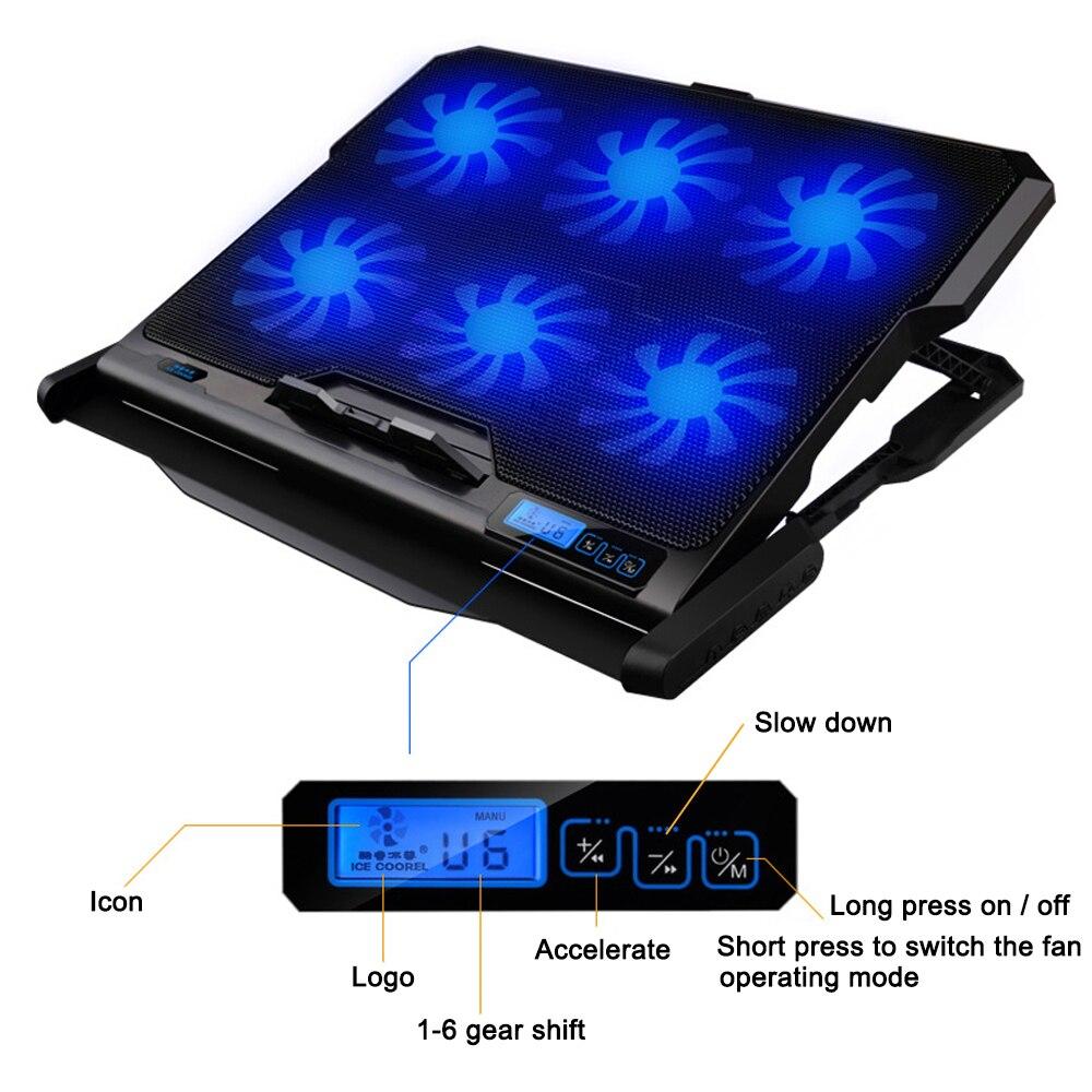 Refroidisseur d'ordinateur portable Six ventilateur de refroidissement et 2 Ports USB tapis d'ordinateur portable support pour ordinateur portable pour 13