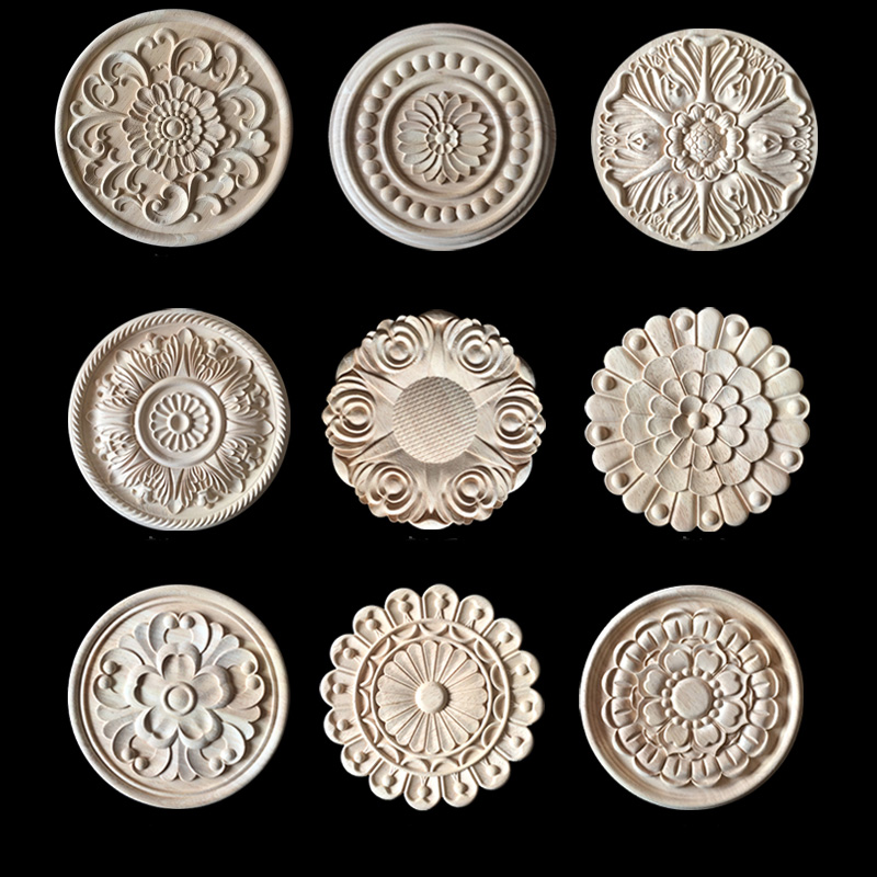 Carved Flower Wood Carving Natural Wood Appliques For Furniture Cabinet Unpainted Wooden Mouldings Decal Decorative Figurine