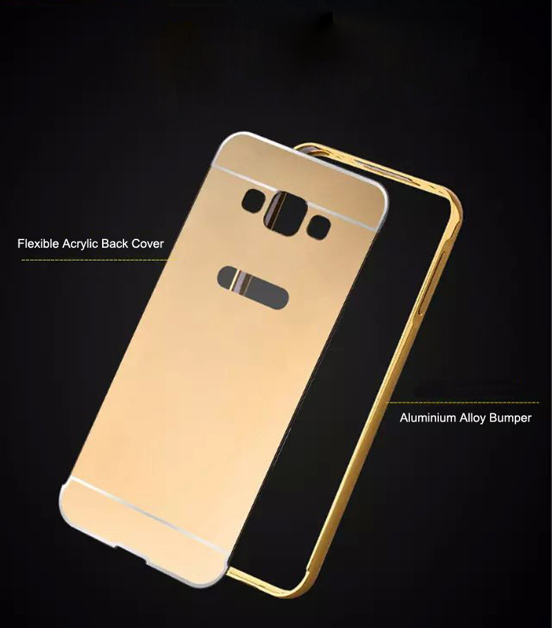 For Samsung Galaxy A3 A5 A7 J5 J7 2016 A310 A510 A710 A8 A9 J3 J510 J710 Luxury Armor Aluminum Metal Frame Mirror Cases Celular