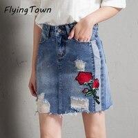 FlyingTown 2018 New Arrival Short Denim Skirt Rose Flower Embroidery Sexy Mini Jeans Skirt Women Vestidos