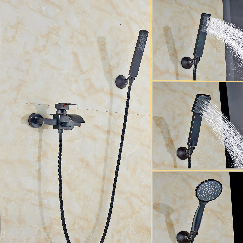 Waterfall Oil Rubbed Bronze Bathroom Tub Faucet W/ Hand Shower Wall Mount Shower wholesale and retail contemporary oil rubbed bronze led waterfall