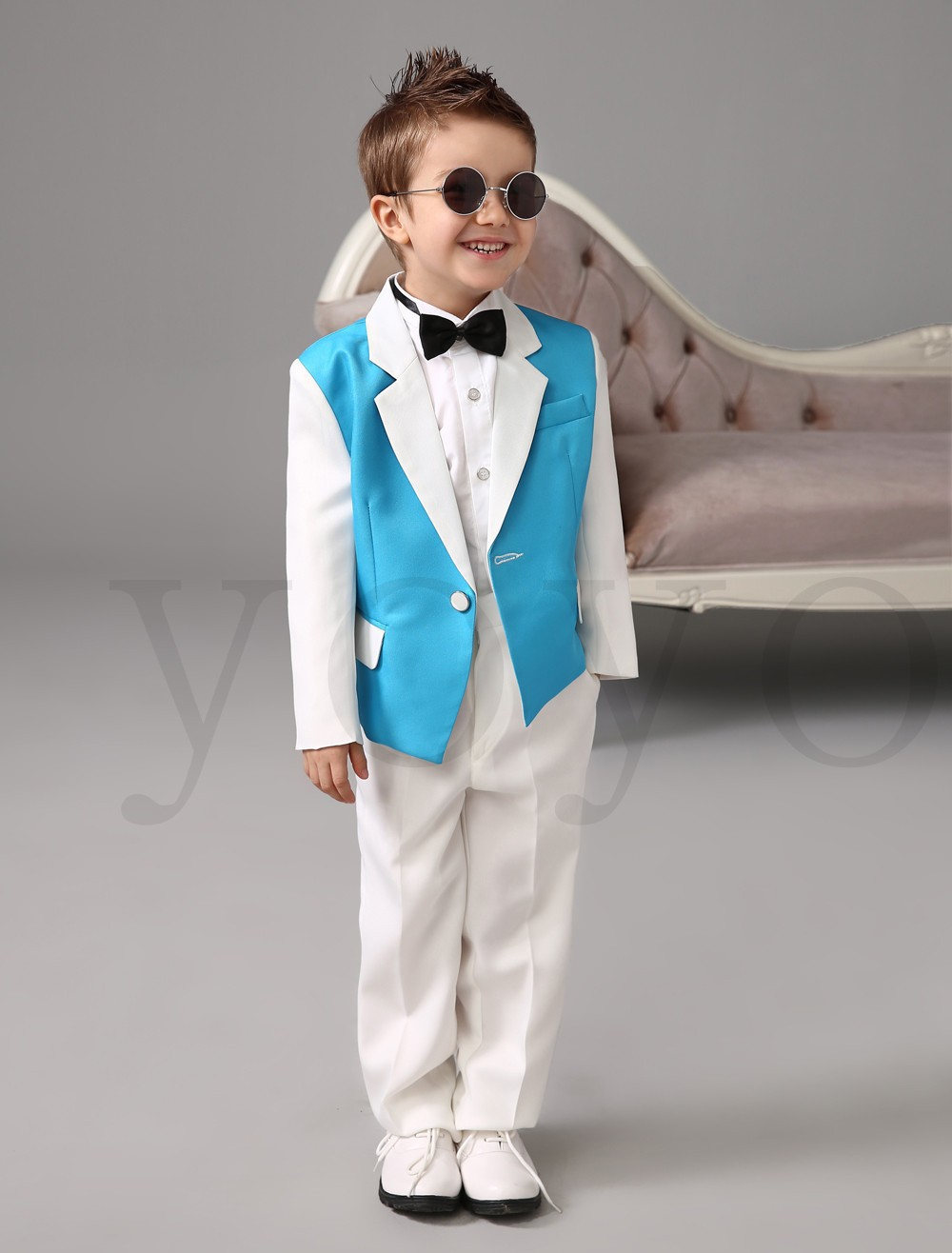 Casual Boys Blazers White Blue Flower Boy Suits for Weddings Baby ...