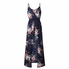 Boho Summer Sexy Playsuit Women 2019 Floral Print Spaghetti Straps Sleeveless Jumpsuit for Womens Rompers Beach Maxi Overalls