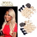 Free Shipping Brazilian Virgin Hair Body Wave Dark Roots 1B/613 Blonde Ombre Human Hair Weave 3 Bundles With Lace Closure