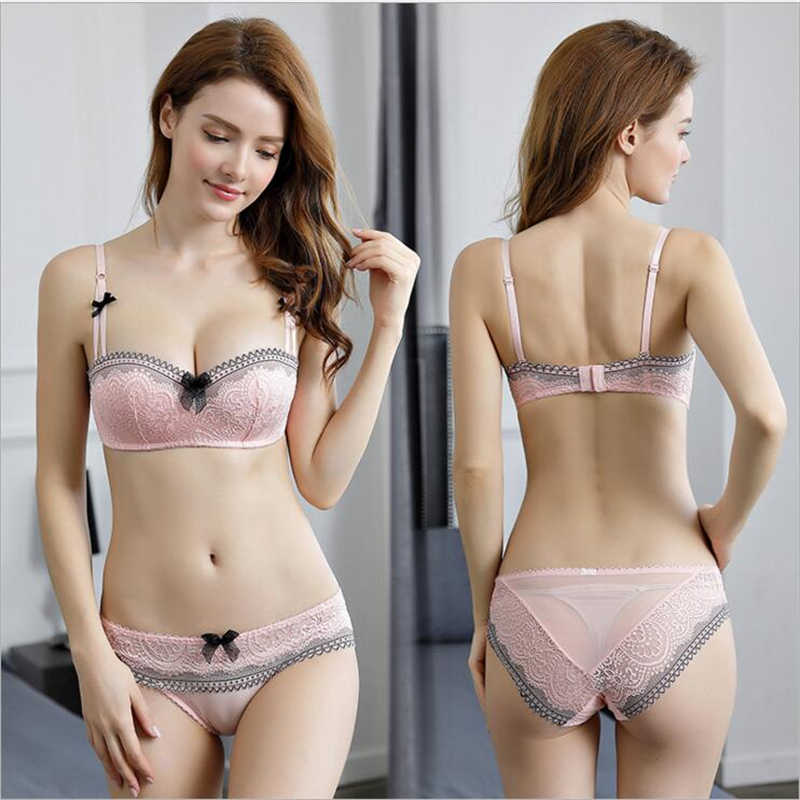 4e99e5d3d Sexy New Arrival French Young Girls Bra Sets 1 2 Thin Cup Bras Sexy Lace