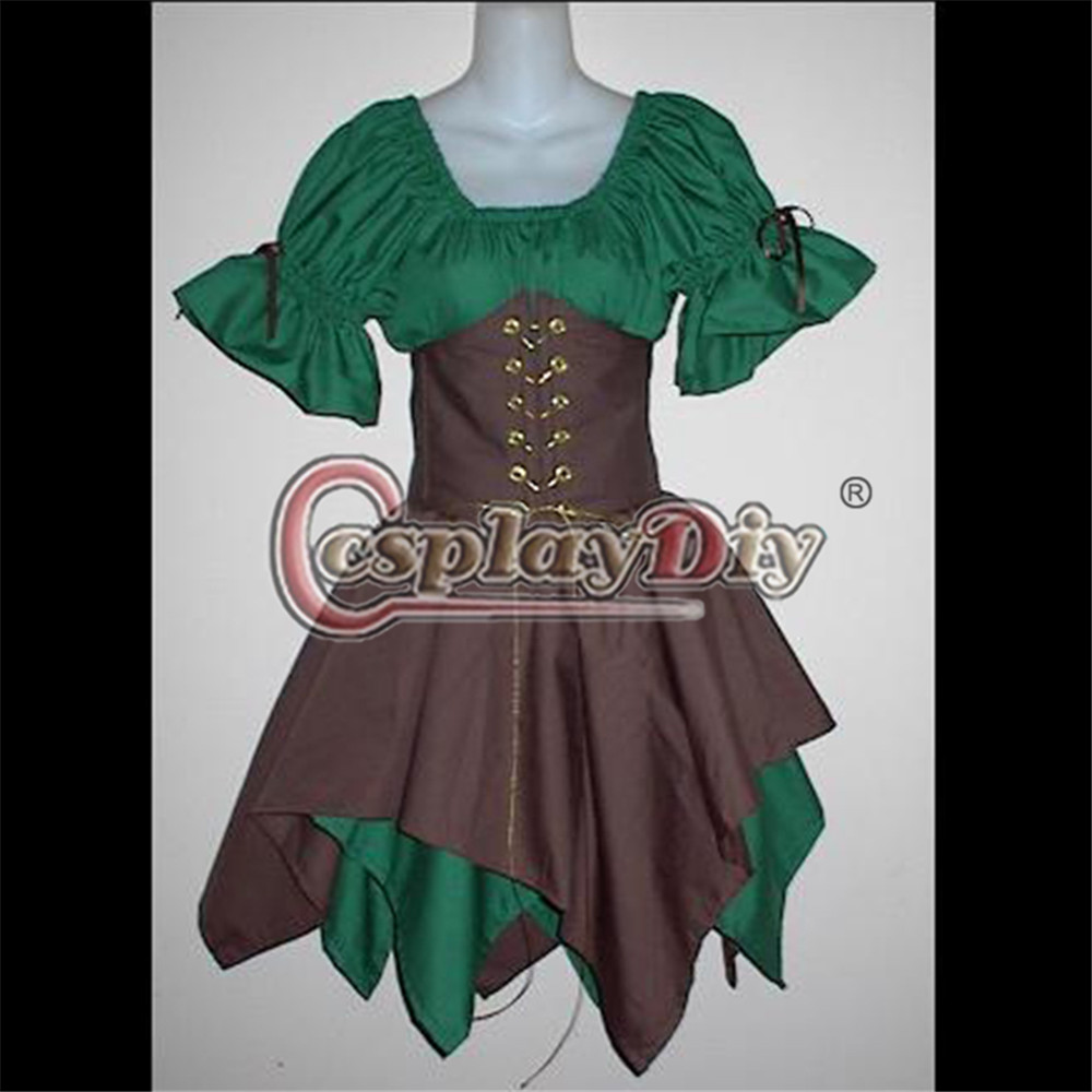 Adult Women Renaissance Wood Elf Princess Costume Irish Green Gown Dress Putih Renda A30554 Cincher Lengan Pendek Fancy Dewasa Wanita Tari Pesta Kostum Custom Made D070321