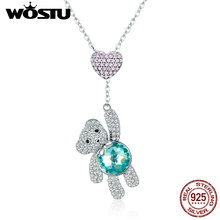 WOSTU באיכות גבוהה 925 כסף מסנוור דובי & לב תליון קולר שרשרת לנשים תכשיטים ילדה מתנה CQN271