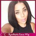 Affordable Price Full Hair Perruque Synthetic Lace Front Wig Women Short Bob Wigs For Black Women Silky Straight No Lace Hair