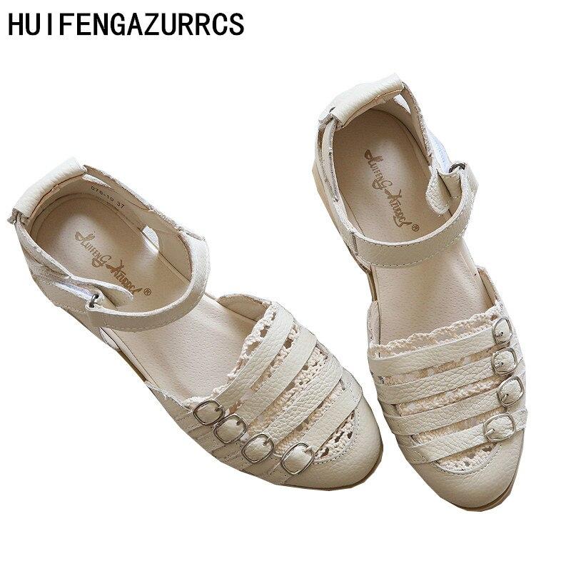 HUIFENGAZURRCS- صندل مصنوع من جلد أصلي خالص ، - أحذية المرأة