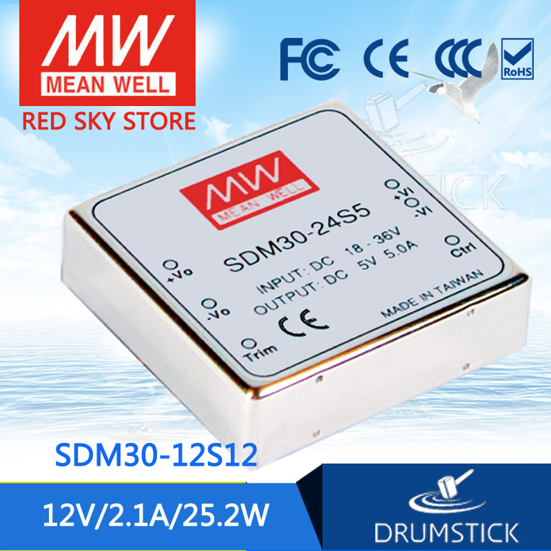 цена на Hot sale MEAN WELL SDM30-12S12 12V 2.1A meanwell SDM30 12V 25W DC-DC Regulated Single Output Converter