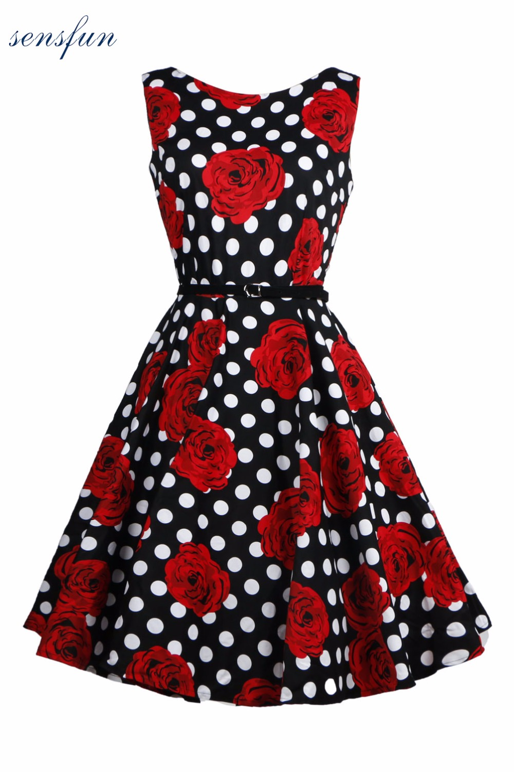 Sensfun Summer Dress Women Cotton Floral Print 1950s 60s Vintage Dress Elegant Vestidos Retra With Belt Party Dresses Sundress
