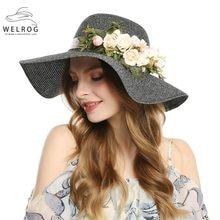 1967687edc0dc3 WELROG Black Elegant Flower Summer Hats for Women Beach Sun Hats Ladies Big  Brim Straw Hats Casual Foldable Shade Caps Travel