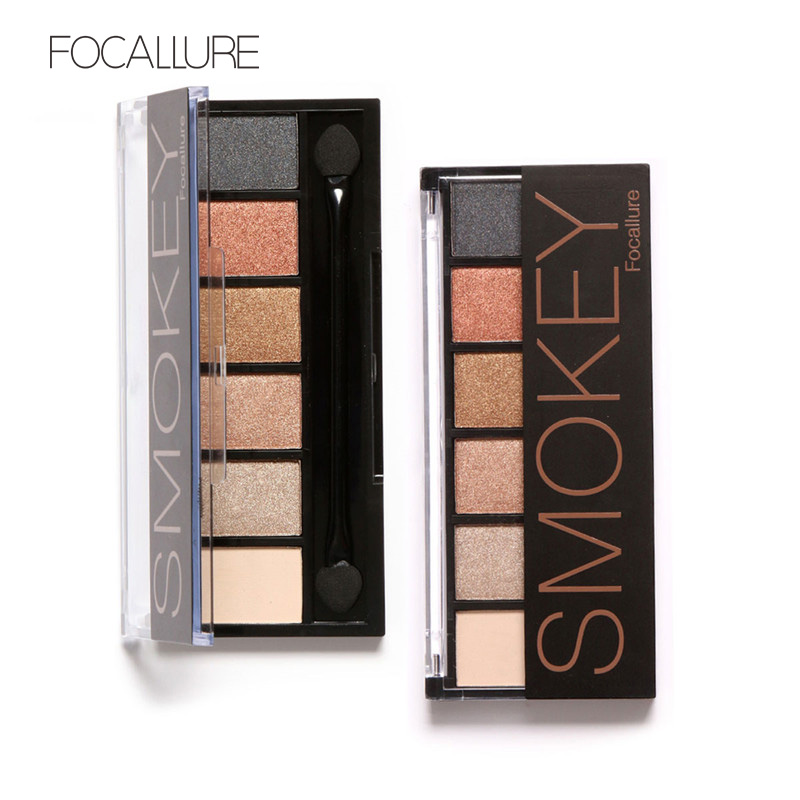 FOCALLURE 6 Colors Shimmer Matte Eyeshadow palete Ilgstoša acu ēnas ar suku Natural Beauty Maquiagem