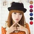 Moda Outono Inverno do vintage Fedoras chapéus para As Mulheres das senhoras chapéu de feltro de topo chapéu para meninas chapéu homburg feminino com orelhas de Gato tampas 9 cores