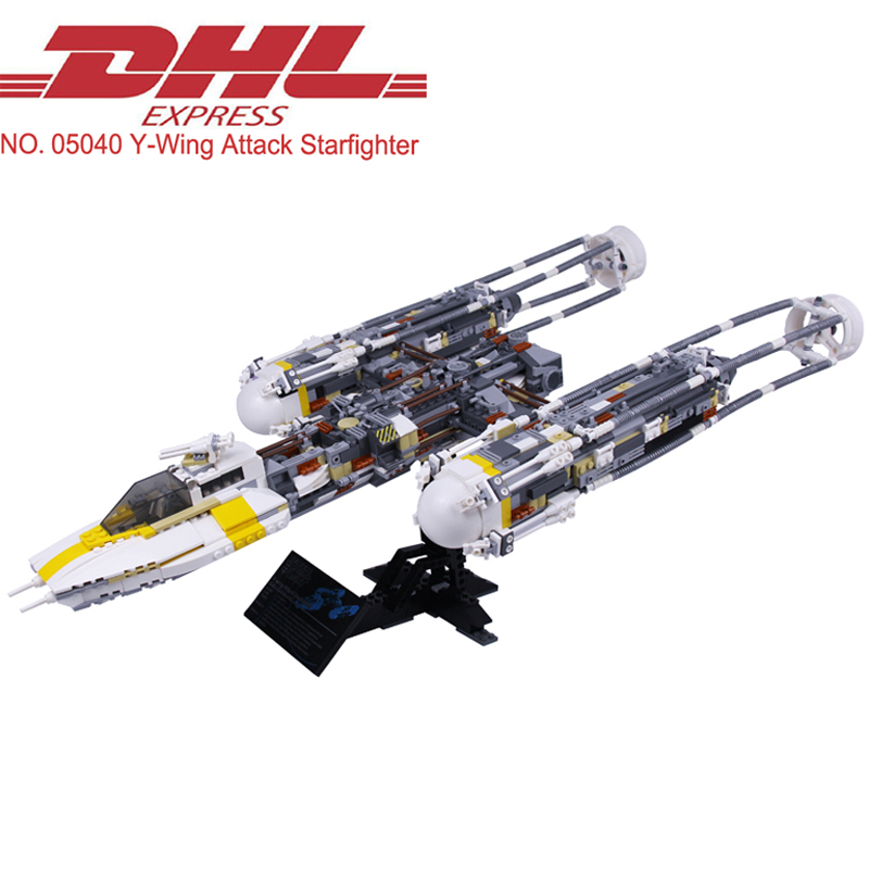 Lepin 05040 1473Pcs Star Wars Figures Y-wing Attack Starfighter Model Building Kits Blocks Bricks Toys Children Compatible 10134 star 1473pcs wars lepin 05040 cool y wing attack starfighter building block assembled bricks toys compatible legoinglys 10134