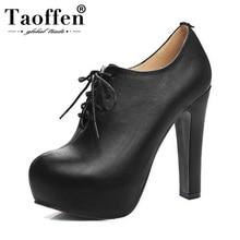 цены на TAOFFEN Plus Size 34-48 Women Pumps High Heel Shoes Lace Up PU Leather Shoes Women Platforms Autmun Party Shoes Prom Footwear  в интернет-магазинах