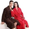 Albornoz de algodón hombres de las mujeres ropa de dormir camisón para las niñas manta toalla engrosamiento suave larga bata de baño más tamaño otoño invierno