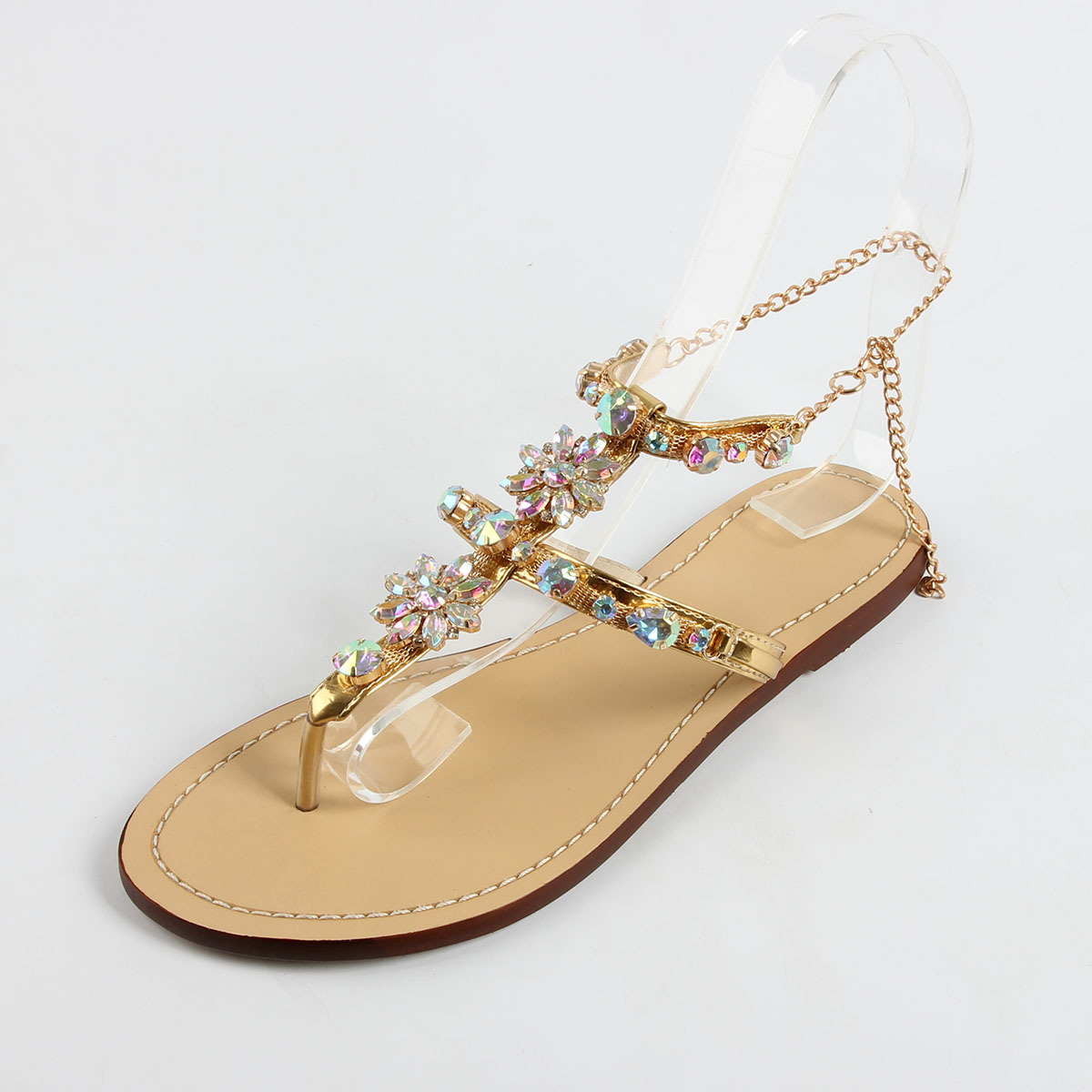 4c14915cf3 Chains Sandals Rhinestones Size Woman Gladiator Chaussure Shoes Flat ...