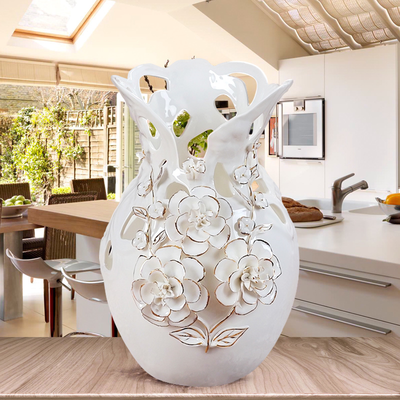 Us 5982 5 Offeuropejski Styl Salon Dekoracyjne Ceramiczny Wazon Ozdoby Parapetówkę Prezent ślubny Złota Róża Butelka W Wazony Od Dom I Ogród Na