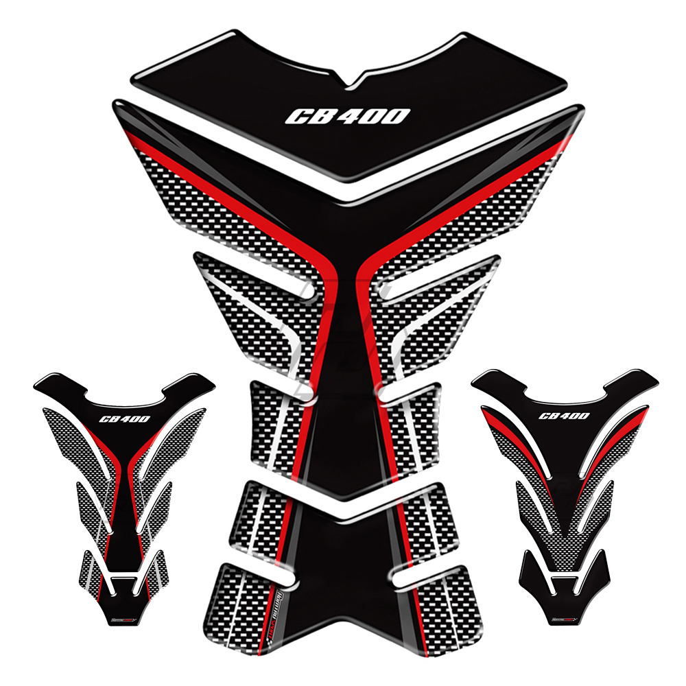3D Carbon-look Motorcycle Tank Pad Protector Decal Stickers Case For Honda CB400 CB 400 Tankpads
