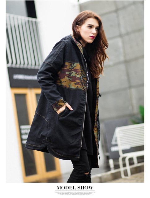 ENJOY PLUS 5%OFF chest 100-120cm winter 2016 black denim casual trench coat long woman large size jeans printed hoodie XL- 5XL