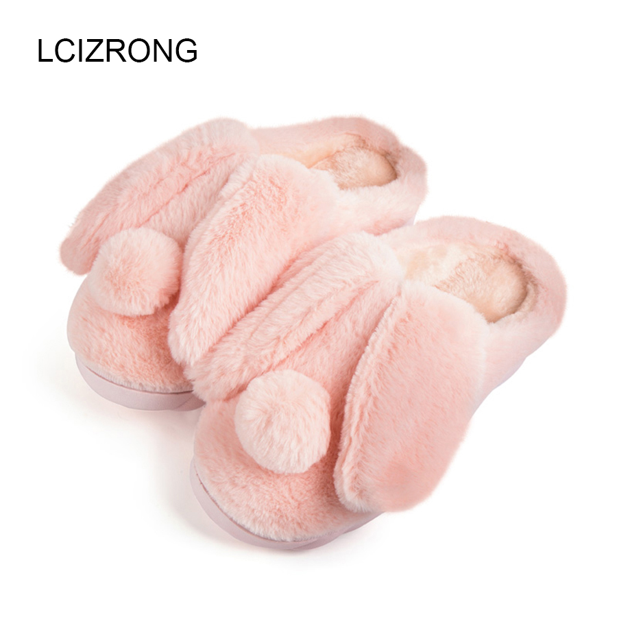 Winter Women Rabbit Slippers 2017 New Cotton Home Slippers Indoor Floor Female Warm Plush Covered Shoes Male Pantoufle Christmas vanled 2017 new fashion spring summer autumn 5 colors home plush slippers women indoor floor flat shoes free shipping