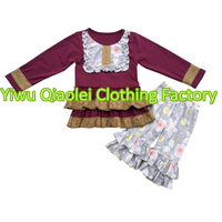 2017 Fall Little Girl Boutique Outfits China Wholesale Market Kids Clothing