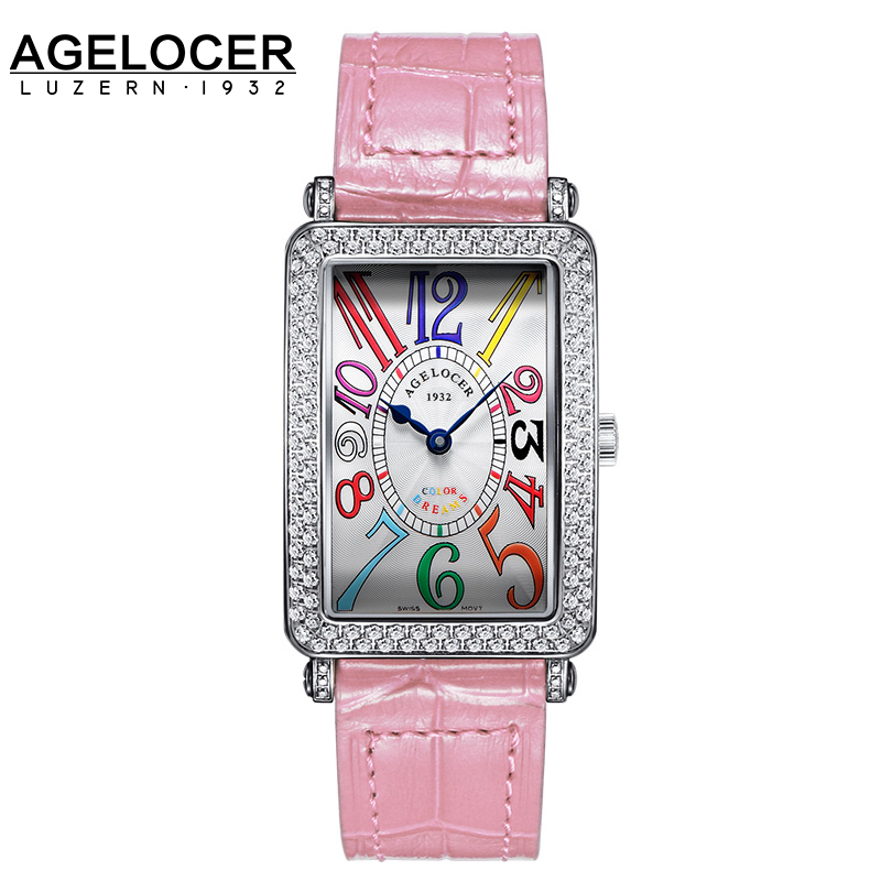 Genuine Swiss brand ladies watch Women quartz table AGELOCER slim and stylish for lover watches gold plating for birthday gift 2016 aladdin and the magic lamp watch the young men and women fashion quartz pocket watch table birthday gift ds262