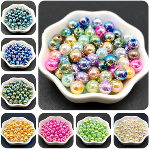 AB Color Beads For or Jewelry Making DIY Beautiful Plating Acrylic Beads Loose Spacer Bracelet & Necklaces & pendants DIY Beads