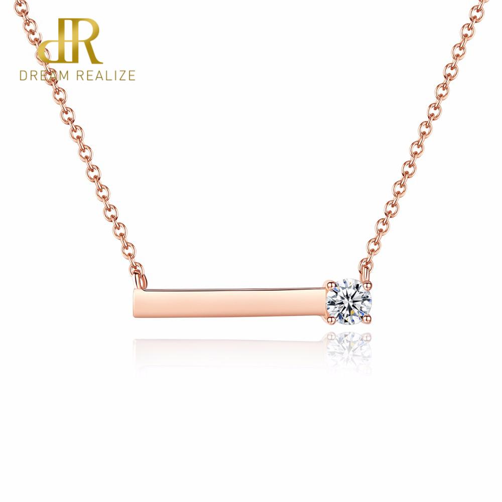 DR Brand Simple CZ with Tiny Cubic Zirconia Genuine Sterling Silver Necklaces Rose Gold Plated for Women Pendant Jewelry GifDR Brand Simple CZ with Tiny Cubic Zirconia Genuine Sterling Silver Necklaces Rose Gold Plated for Women Pendant Jewelry Gif