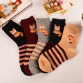 New Winter Women Brand Warm Rabbit Wool Socks Fox Series Forest Wind Cute Animals Patterns Girls Cotton Socks