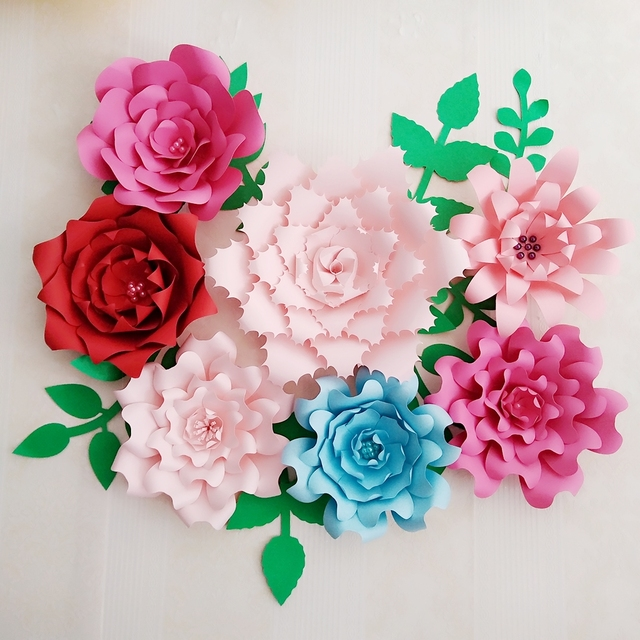Personalized 7pcs Giant Paper Flowers Large Flower With 7 Pcs Leaves