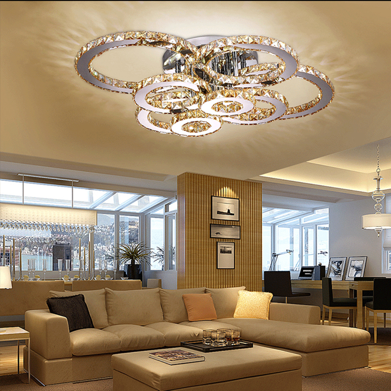 Surface Mounted Modern Led Ceiling Crystal Chandeliers For Lobby Living Room Bedroom Circle Ring Avize Cristals Large Chandelier Ceiling Lights & Fans