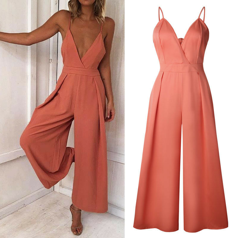 Hirigin Women Ladies Casaul Clubwear Backless Bow V Neck Sling Playsuit Bodycon Party   Jumpsuit   Romper Trousers