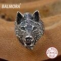BALMORA 100% Real 925 Joyería de Plata Tailandesa Punk Animal anillos para Hombre Macho Regalo Del Partido Anillos Retro Anillo Del Lobo SY20687