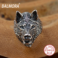 BALMORA 100% Real 925 Sterling Thai Silver Jewelry Punk Animal Rings for Men Male Party Gift Anillos Retro Wolf Ring SY20687