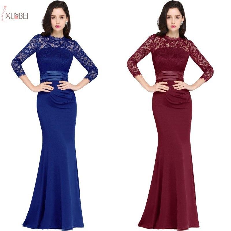 2019 Three Quarter Sleeve Burgundy Elegant Long   Bridesmaid     Dresses   Cheap Plus Size Wedding Party Guest   Dress   Under 50 New