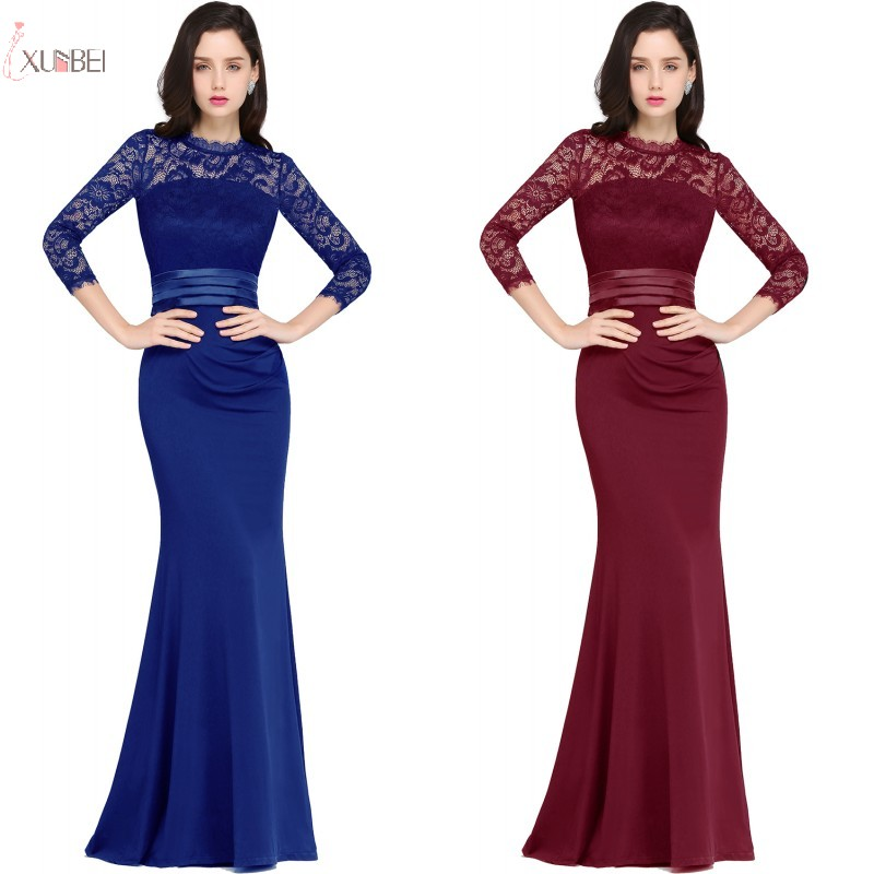 2019 Three Quarter Sleeve Burgundy Elegant reflective Long   Bridesmaid     Dresses   Cheap Plus Size Wedding Party Guest   Dress   Under 50