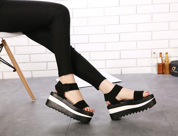 12a60e79244 Black Fringe Sandals Hook Loop Platform Wedges Women Flat Sandals Platform  Wedges Shoes Chunky Platform Ankle Strap Sandal Wedge-in Women s Sandals  from ...