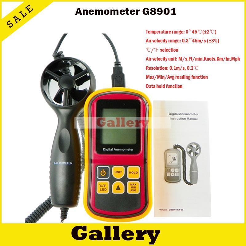 Anémomètre réel Tacometro tachymètre numérique Rpm anémomètre numérique vent Gm8901 affichage de niveau mesure multifonction