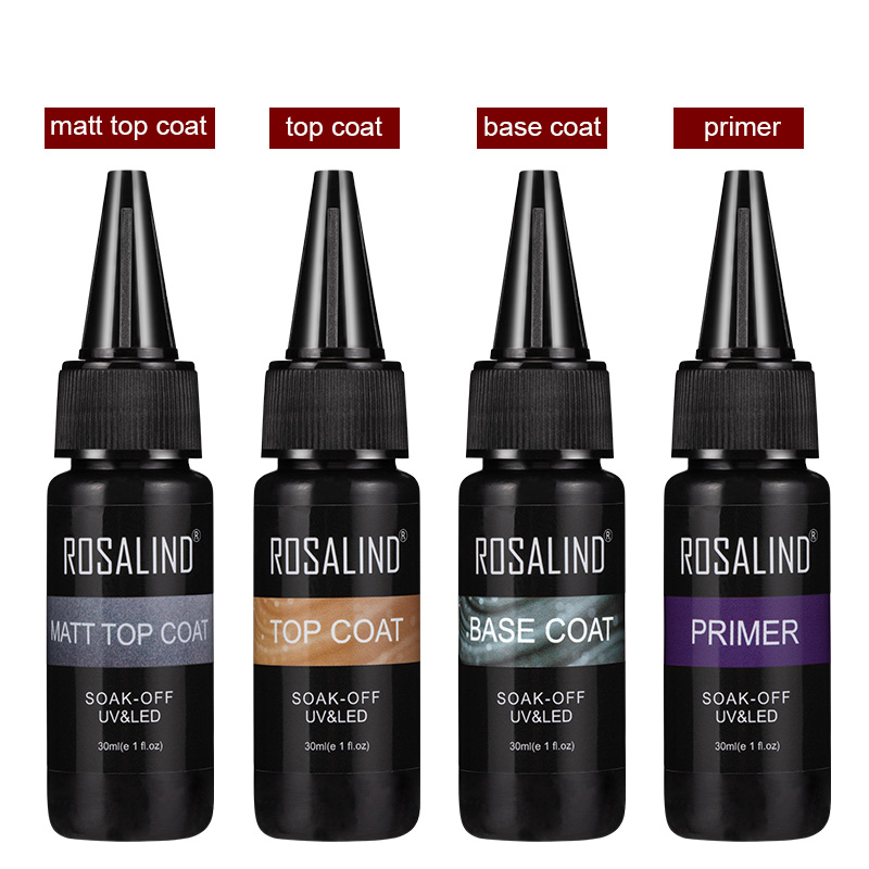 ROSALIND 30ml Primer Gel Soak Off UV LED Top Coat Base Coat Tempered Nail Primer Gel Polish Varnish Manicure Matt Top Coat